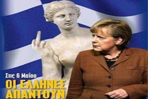 ">> ""Sant""'Angela Merkel dos Bankgstersteins – o povo grego te abomina"