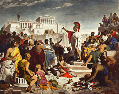 O discurso de Péricles sobre a democracia ateniense, talvez o discurso político mais importante da História